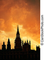 Westminster Palace silhouette with cloud in London.