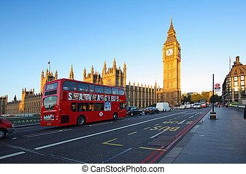 westminster, reggel, utcák, london, apátság