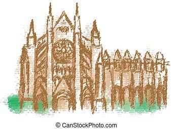 westminster, resumen, silueta, abadía