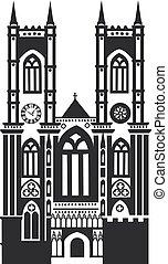westminster, vector, abadía, icono