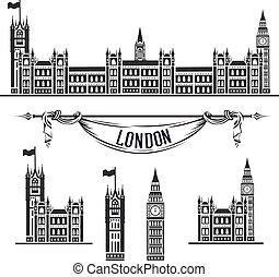 westminster, vector, palacio, icono