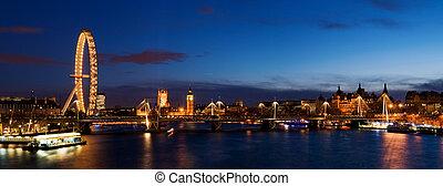 westminster, ville, crépuscule