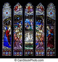 Westminster Window. This stained glass window is in Chester Catherdral in the city of Chester, Cheshire, United Kingdom.