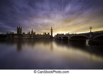westminster, zachód słońca, na, londyn most