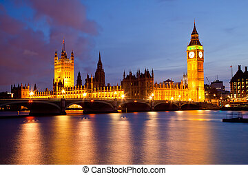 westminster, zvon věžních hodin londýnského parlamentu,...