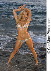 Wet blond in Bikini at Beach - Wet Blond woman in a Bikini...
