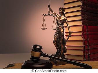 wet boeekt, justitie, standbeeld, en, houten gavel