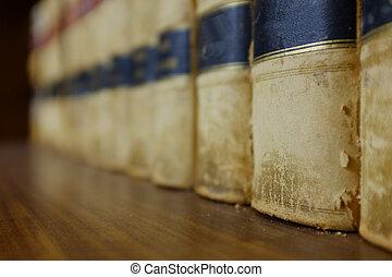 wet boeekt, op, plank, in, bibliotheek, met, wettelijk, holdings