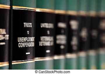 wet boeekt, op, plank, met, etiketten, voor, wettelijk, leren