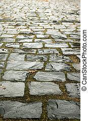 Wet cobblestone road