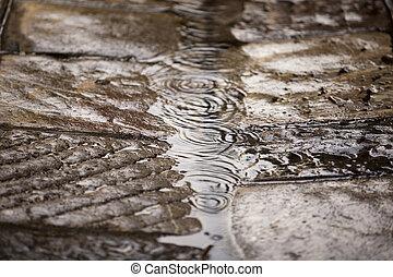 wet cobblestone