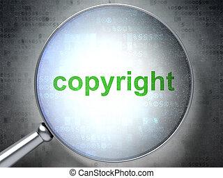 wet, concept:, auteursrecht, met, optisch, glas