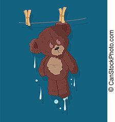 Wet Cute Teddy Bear Vector