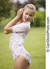 wet dressed woman