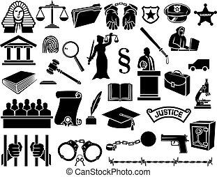 wet, en, justitie, iconen, set