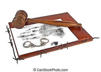 wet, en, order., houten gavel, met, boek, handprint, handcuffs, en, prikkeldraad, op, een, witte , achtergrond.