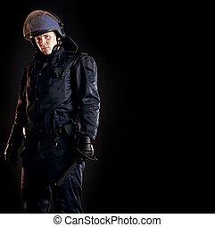 wet, enforcer, gereed, voor, menigte, controle
