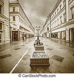 Wet evening city street.