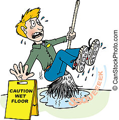wet floor 2 - A janitor mopping up water slips and falls