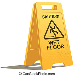 wet floor caution sign - vector drawing of a plastic wet...