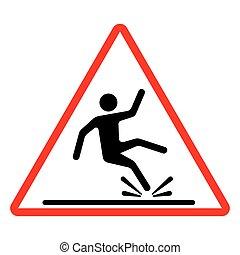 Wet floor caution sign. Vector illu