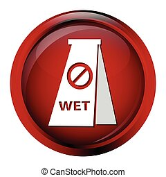 Wet floor icon, cleaning sign vector illustration