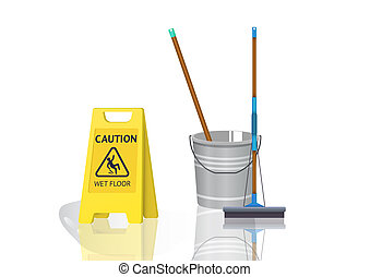 wet floor sign and bucket of water