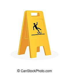Wet floor sign, falling man.