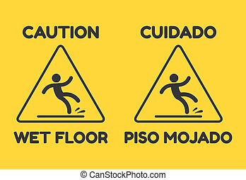 Wet Floor Sign in English and Spanish