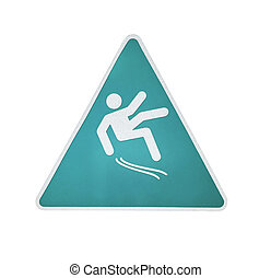 Wet floor warning sign isolated