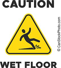 Wet floor yellow sign with falling person pictogram. Man slipping vector caution icon