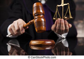 wet, frappant, concept, rechter, rechtszaal gavel, ...