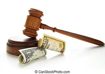 wet, gavel, met, contant, vrijstaand, op wit