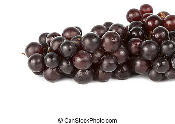 Wet grapes isolated on white