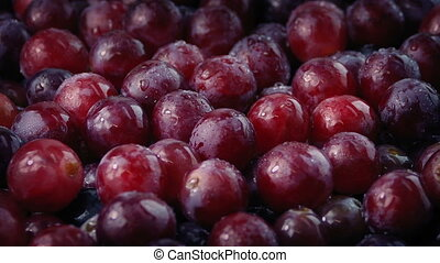 Wet Grapes Rotating Closeup