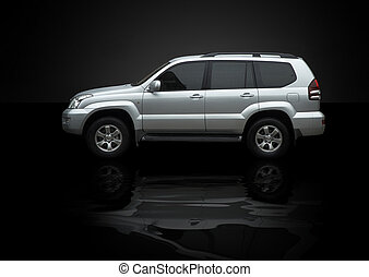 wet jeep - luxury silver rover with reflection(special f/x)