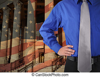 wet, justitie, man, met, vlag