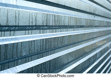 wet metal board for copy space, metal ribbed silver background