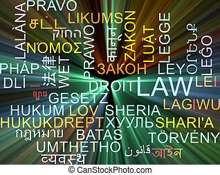 wet, multilanguage, wordcloud, achtergrond, concept, gloeiend