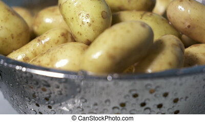 Wet new potatos in colander after washing. Heap of young...