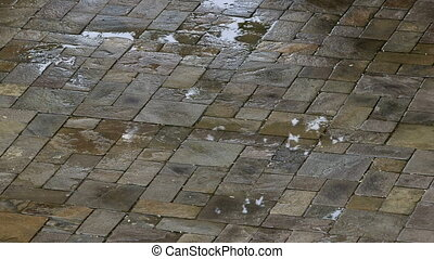 Wet pavement paved by paving slabs in the rain