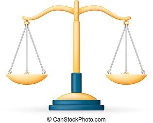 wet, pictogram, schalen, justitie, symbool, vrijstaand, illustratie, realistisch, vector, ontwerp, evenwicht, 3d