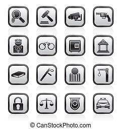 wet, politie, en, misdaad, iconen
