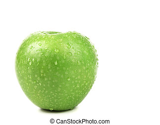 Wet ripe green apple. Isolated on white