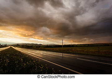 Wet road and sky