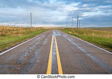 wet rural highway in Nebraska