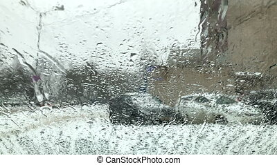 wet snow glass - wet snow with rain falls on the glass...