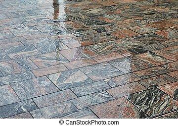 Wet Stone Pavement - Pavement wet in rainy weather