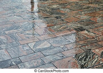 Wet Stone Pavement - Pavement wet in rainy weather