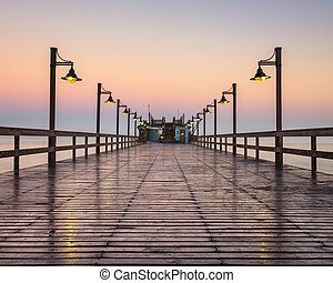 Wet Swakopmund Pier at Sunrise, Namibia, Africa